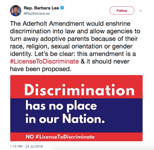 Discrimination has no place in our nation, vote against the Aderholt Amendmnet.